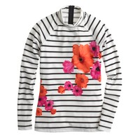 Floral stripe rash guard