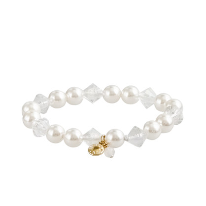Girls' pearl and crystal bracelet