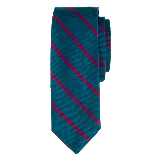 English silk tie in thin stripe