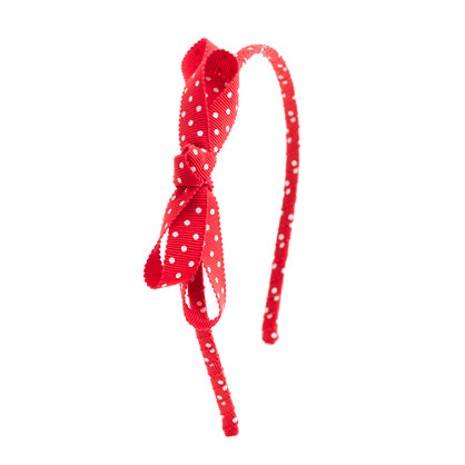 Girls' polka-dot bow headband