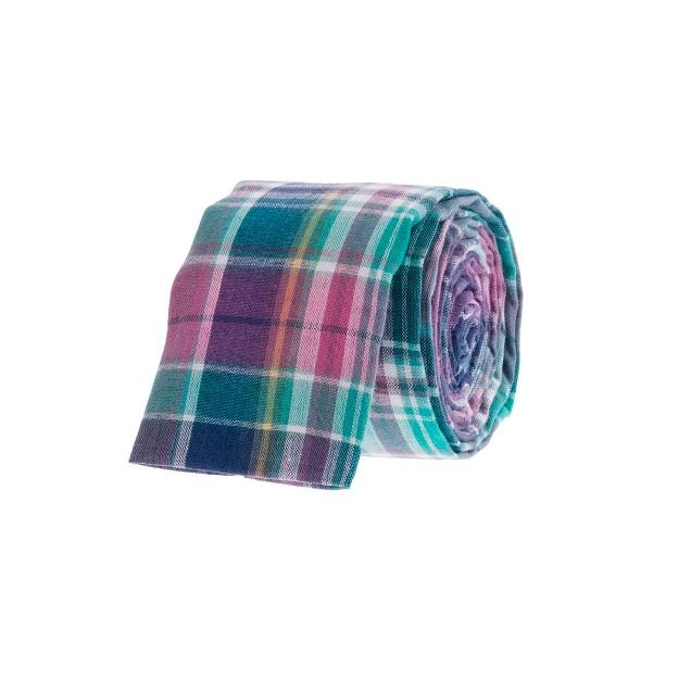 Indian cotton tie in Bermuda plaid