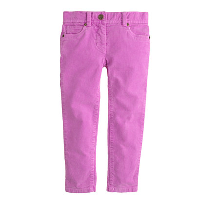 Girls' garment-dyed stretch toothpick cord