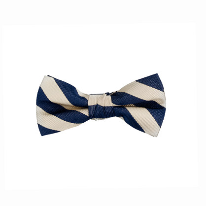Boys' silk bow tie in navy and cream stripe