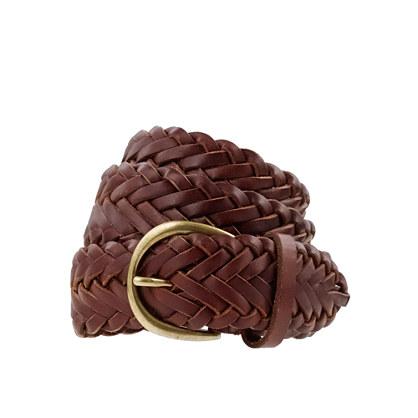 Braided leather boyfriend belt