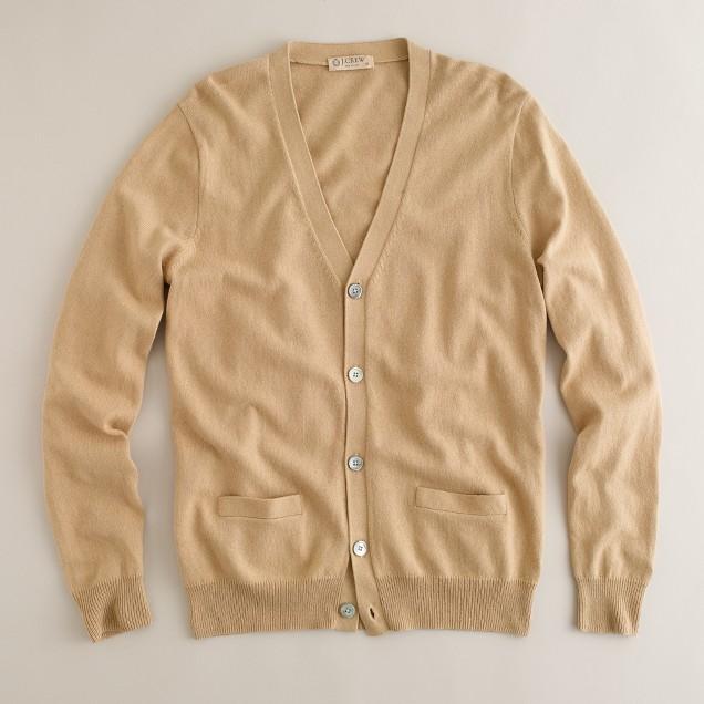 Solid cotton-cashmere cardigan
