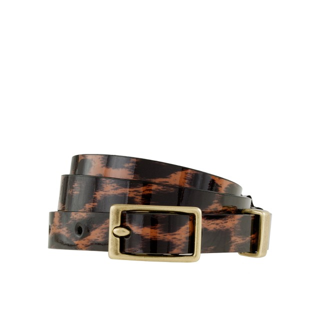 Patent leather belt in leopard
