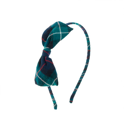 Girls' tartan bow headband