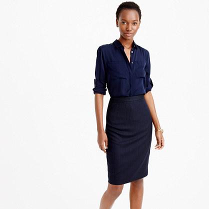 Pencil skirt in pinstripe Super 120s wool