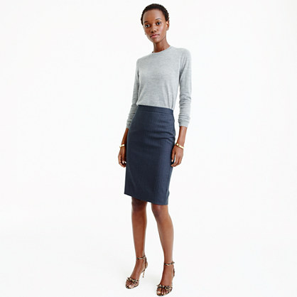 Pencil skirt in pinstripe Super 120s wool