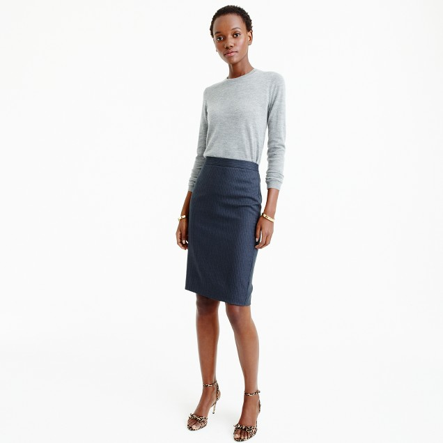 Petite pencil skirt in pinstripe Super 120s wool