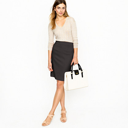 Petite pencil skirt in wool crepe