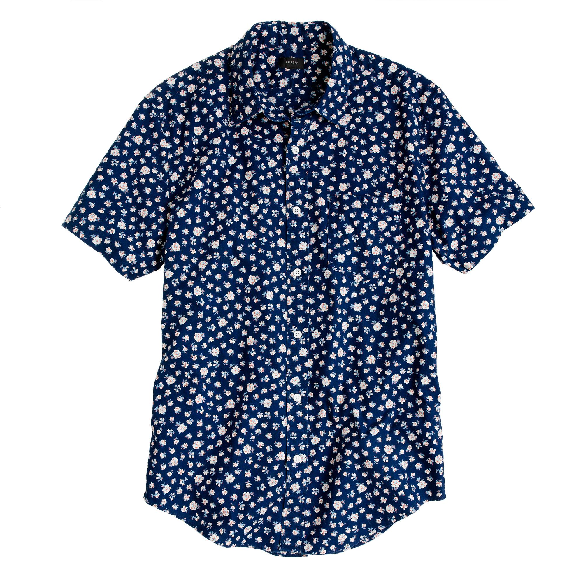 Indigo short sleeve shirt in floral reverse print j crew for Mens short sleeve floral shirt