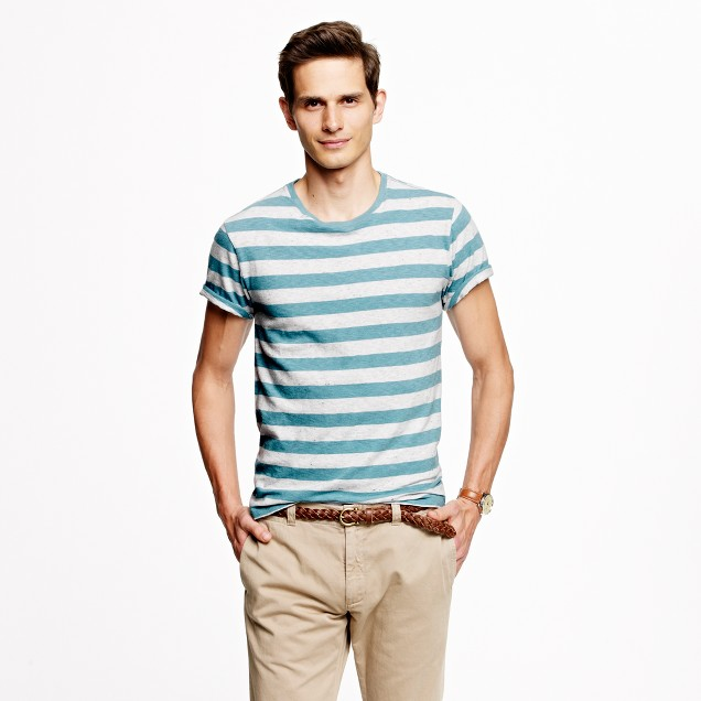 Stock jersey tee in heather stripe