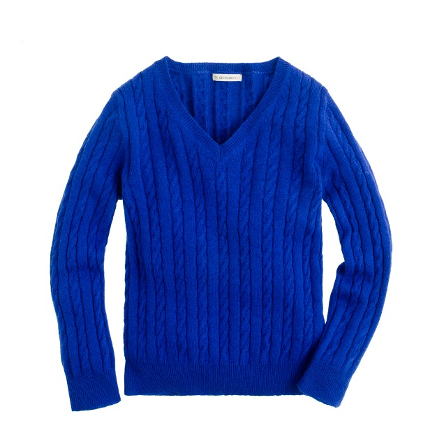 Girls' cable V-neck sweater