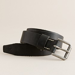 Italian leather roller-buckle belt