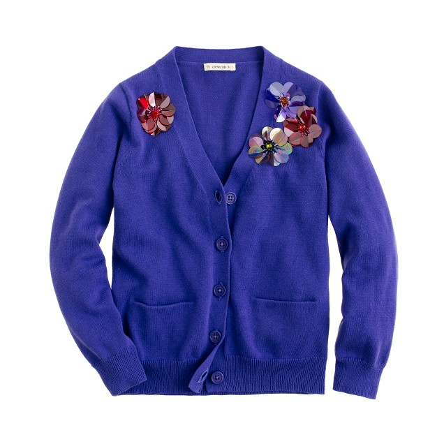 Girls' blooming paillette cardigan