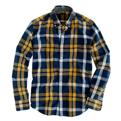 Tall tartan shirt in vintage navy and yellow