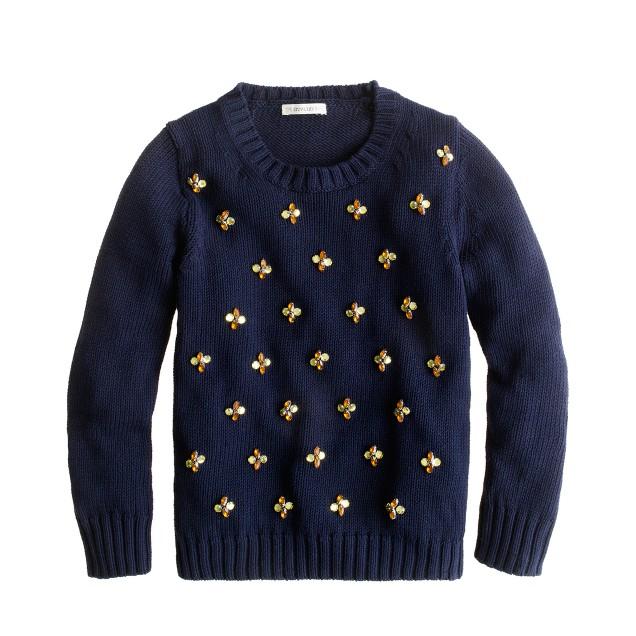 Girls' jeweled daisy sweater