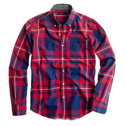 Slim tartan shirt in vintage navy and red