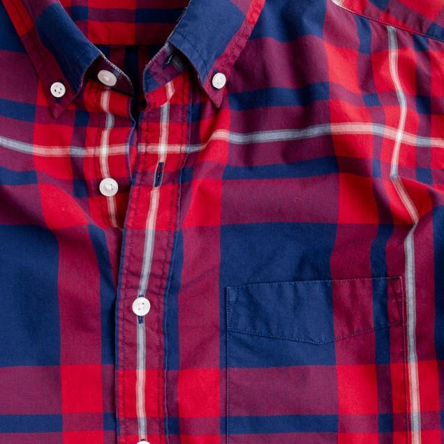 Slim tartan shirt in vintage navy and red