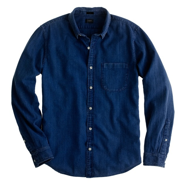 Slim bird's-eye indigo denim shirt