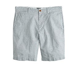 "9"" Stanton short in striped Irish cotton-linen"