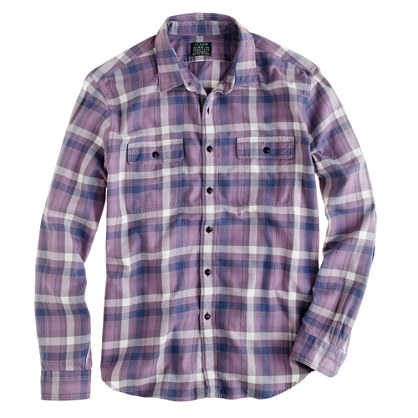 Flannel shirt in deep grape plaid