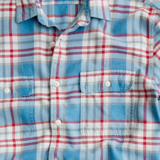Slim flannel shirt in azure plaid