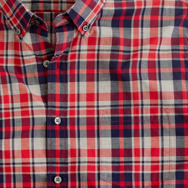 Slim heather plaid shirt in hillside poppy