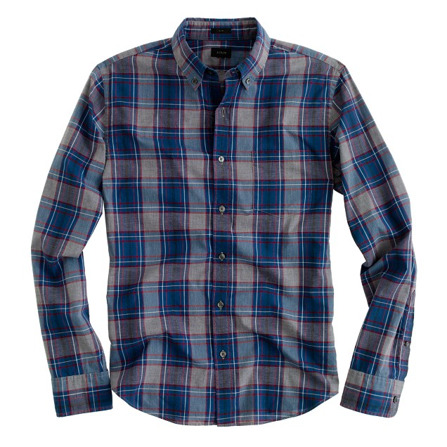 Slim heather plaid shirt in faded pilot
