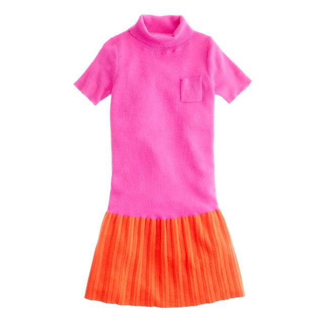 Girls' merino turtleneck dress in colorblock