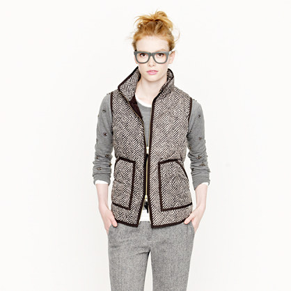 Excursion Quilted Vest In Herringbone Puffer J Crew