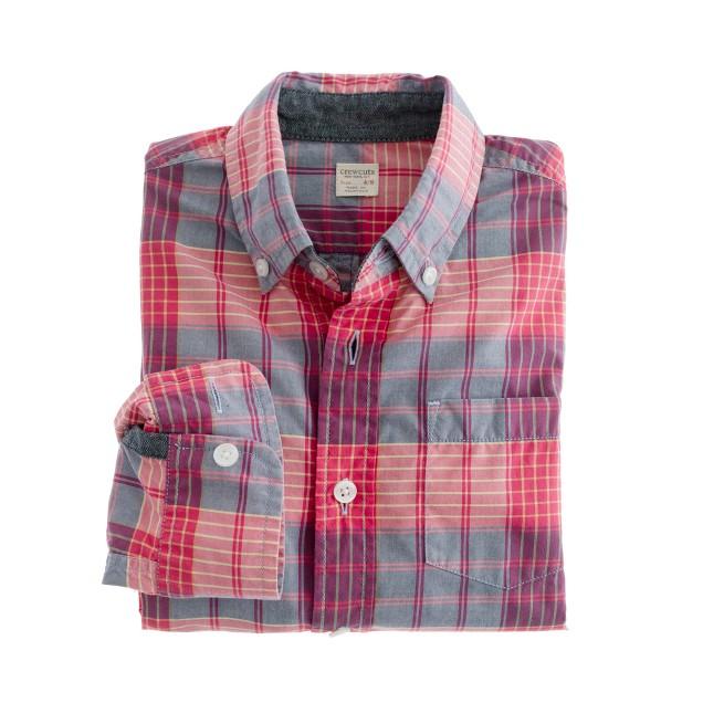 Boys' shirt in barn plaid