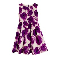 Girls' on-the-button dress in purple poppies