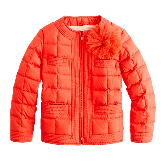 Girls' flower-pouf puffer