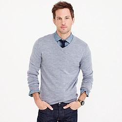 Tall merino wool V-neck sweater