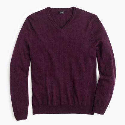 Tall merino wool V-neck sweater