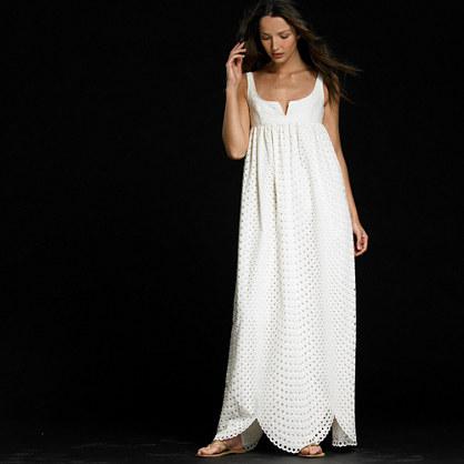 Eyelet cascade gown