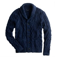 Textured slub cotton cable cardigan