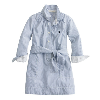 Girls' stripe shirtdress