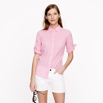 Petite perfect shirt in suckered gingham