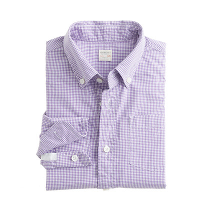 Boys' Secret Wash shirt in mini-gingham