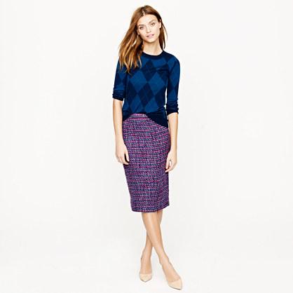 No. 2 pencil skirt in multicolor tweed