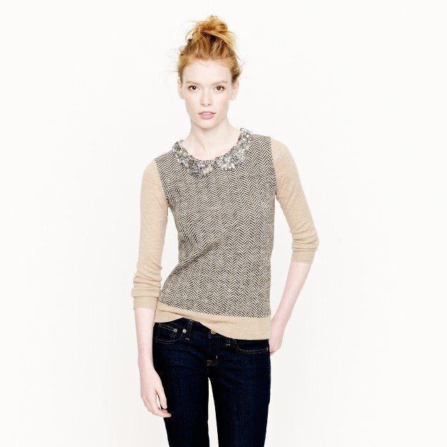 Collection jeweled-collar sweater
