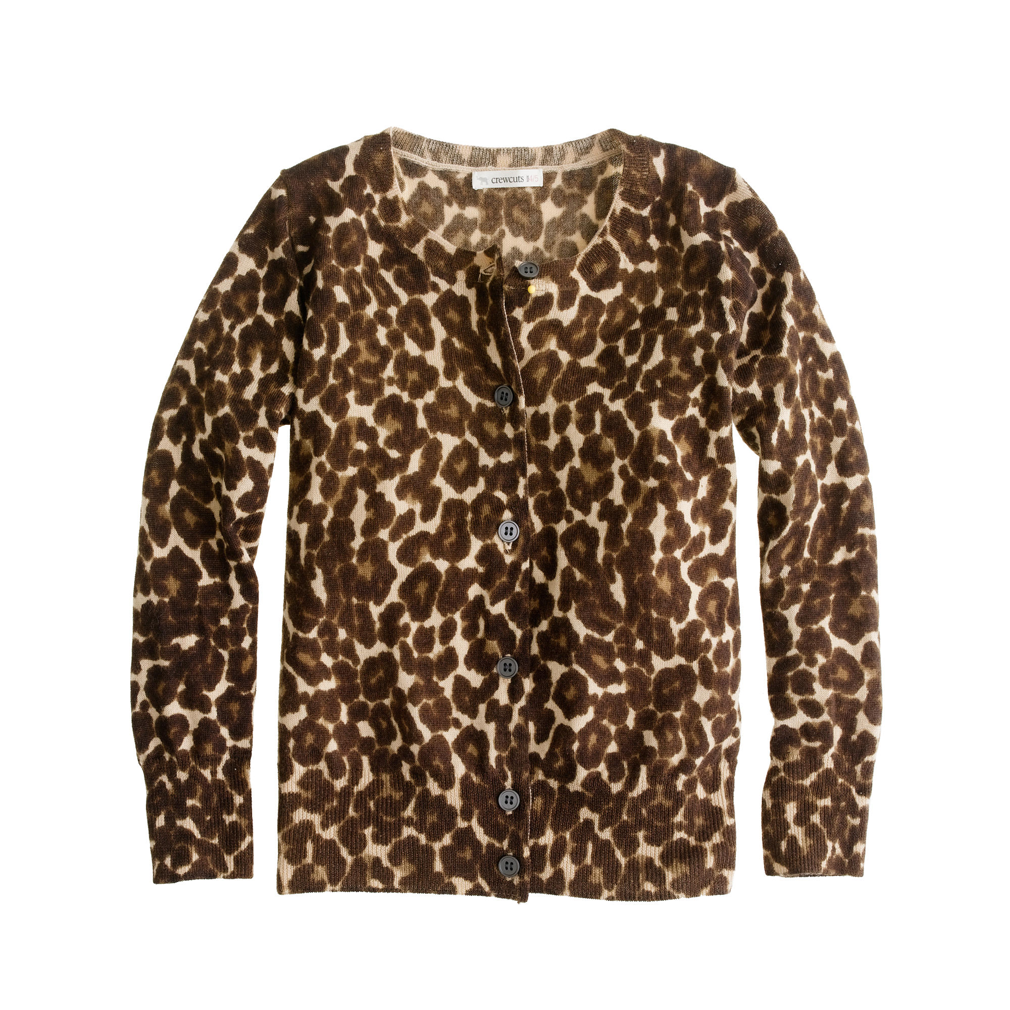 Girls' merino leopard cardigan :