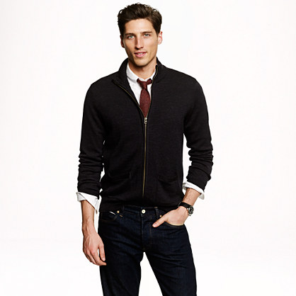 Merino wool zip sweater-jacket