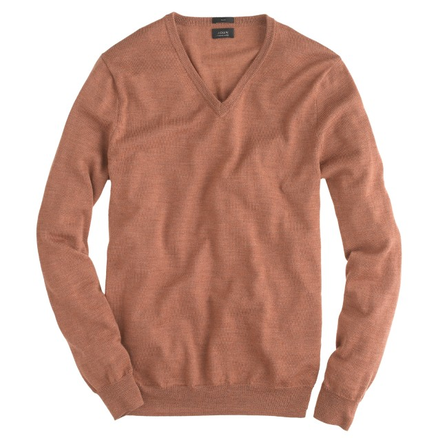 J.Crew Mens Slim Merino Wool V-Neck Sweater in Heather Caramel