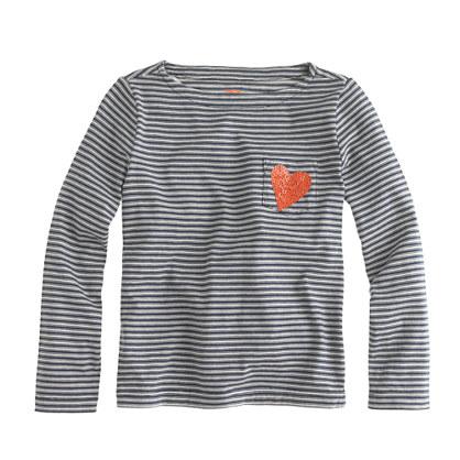 Girls' long-sleeve sequin-heart pocket tee in thin stripe