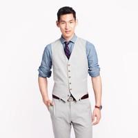 Ludlow suit vest in fine-stripe cotton