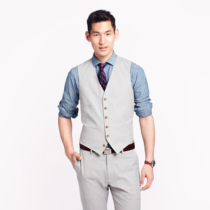 Ludlow suit vest in fine-stripe cotton